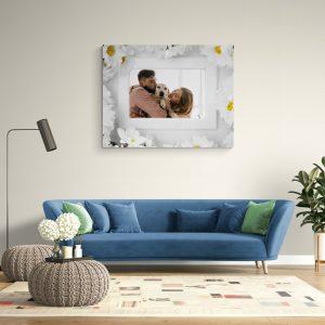 Картина от канава с рамка от бели маргаритки
