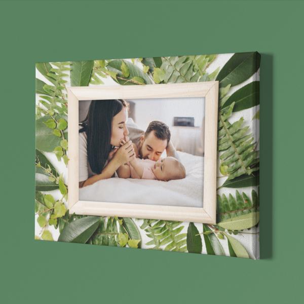 Картина от кавана с Ваша снимка и рамка от листа за стена