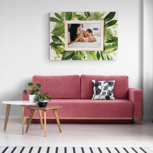 Картина от канава с ваша снимка и рамка с листа